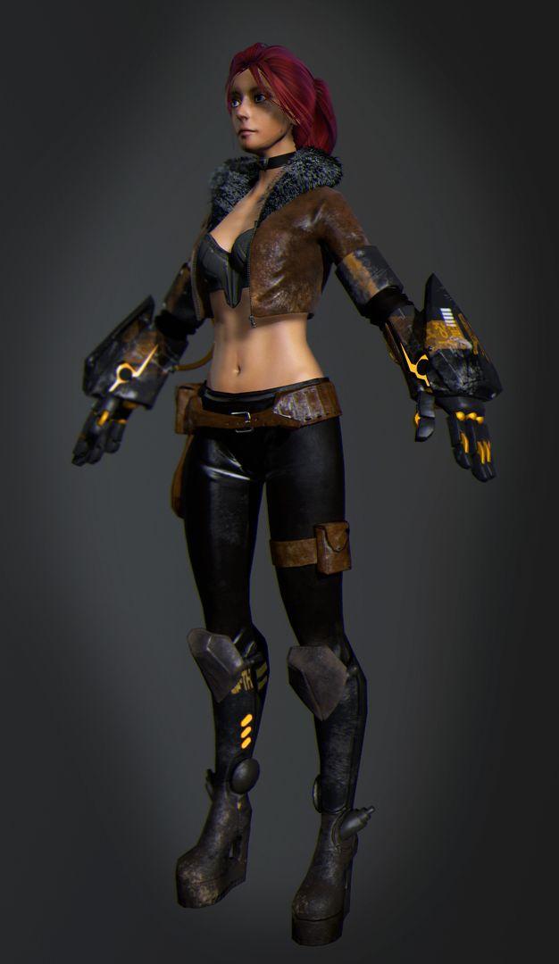 3D Modeling (game project) render scifi girl jpg