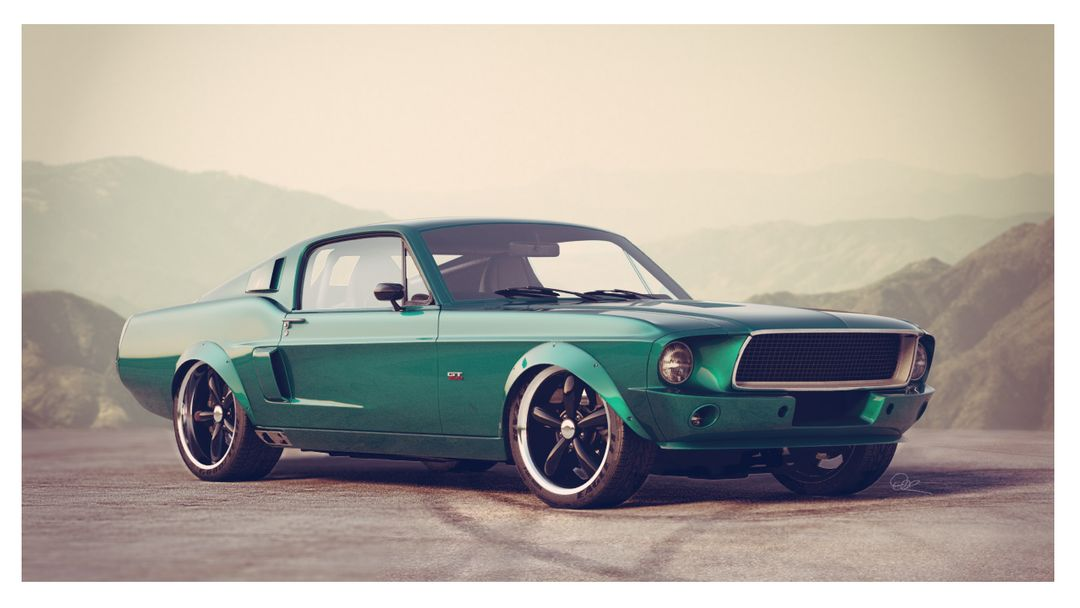 Car Modeling for Still Images and Animations From Concept Art or Blueprints stang sunset jpg