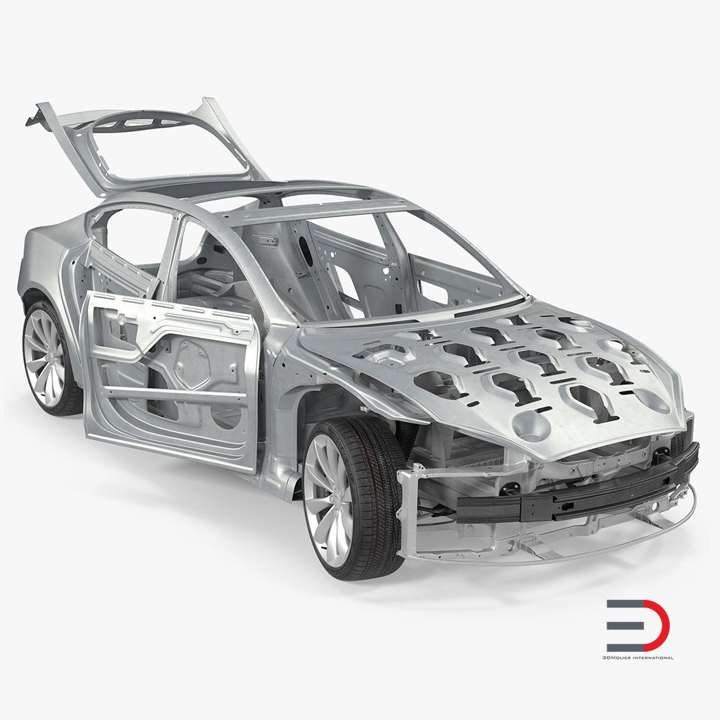 Car Interior and Exterior Modeling Tesla Model S Frame and Chassis Rigged jpg