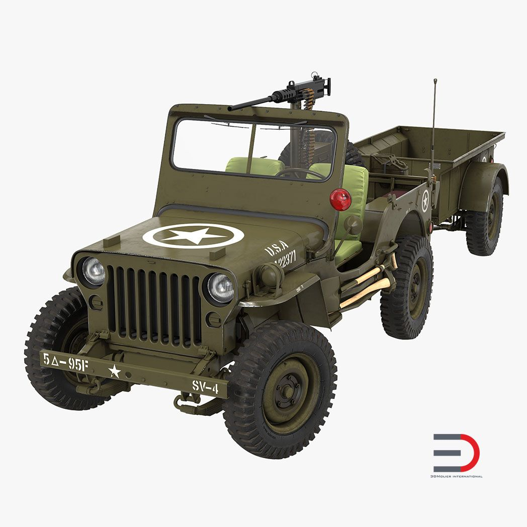 Car Interior and Exterior Modeling Willys Jeep MB 44 with Trailer Rigged jpg