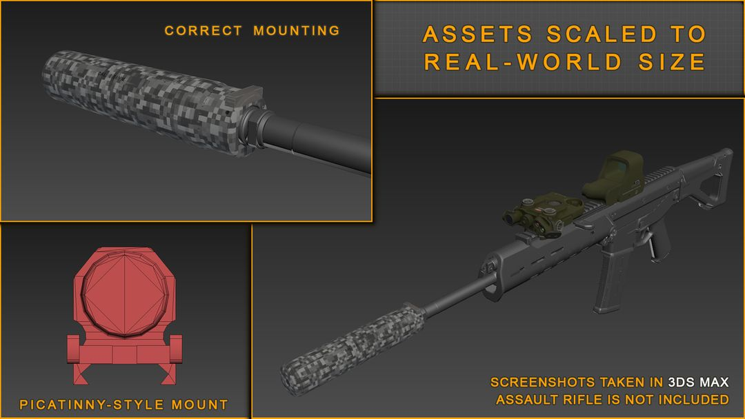 Lowpoly and Realtime assets development for Unreal Engine and Unity weapon attachments screenshot 13 1 jpg