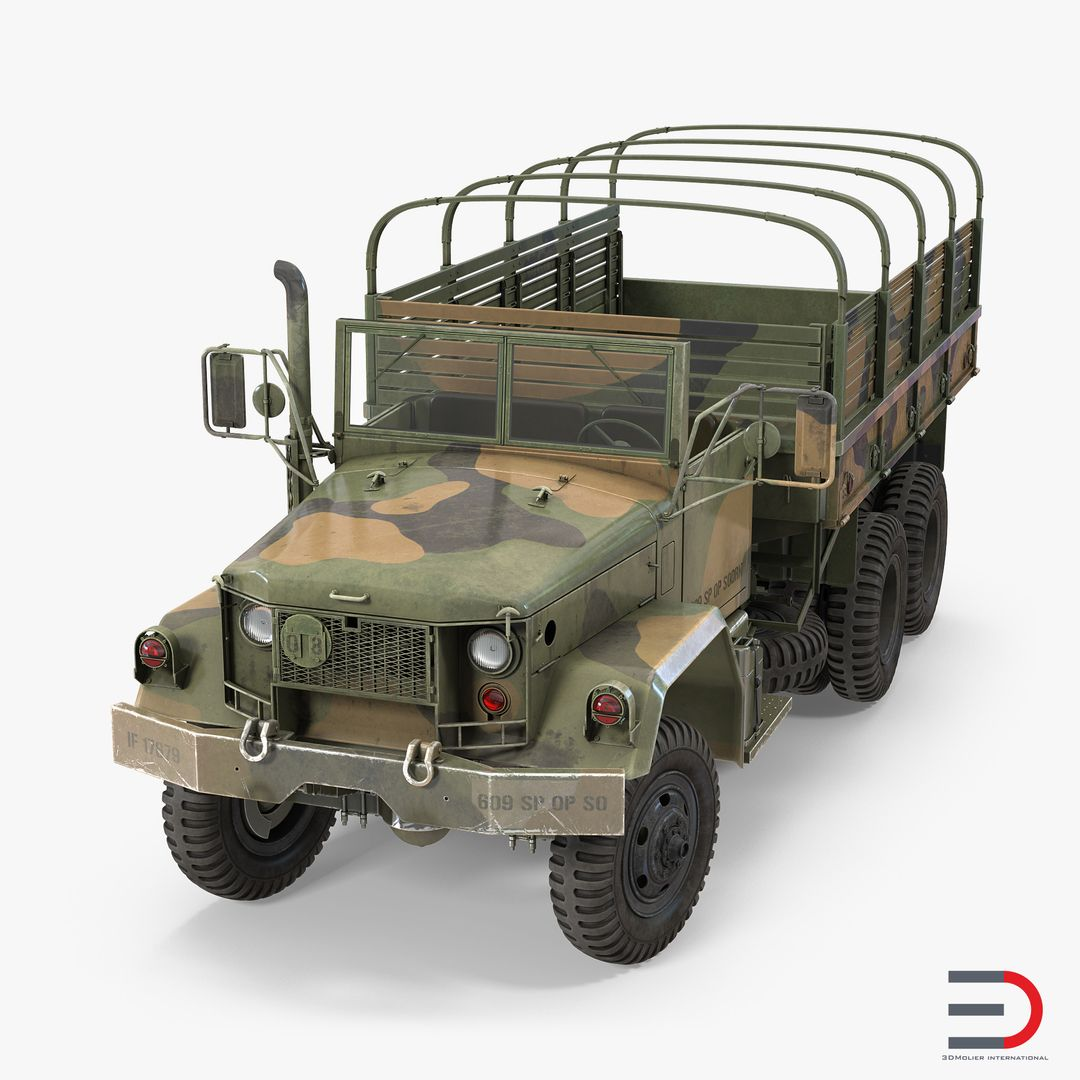 Military Vehicles, Tanks, Weapon Modeling US Army Cargo Truck M35 Rigged jpg