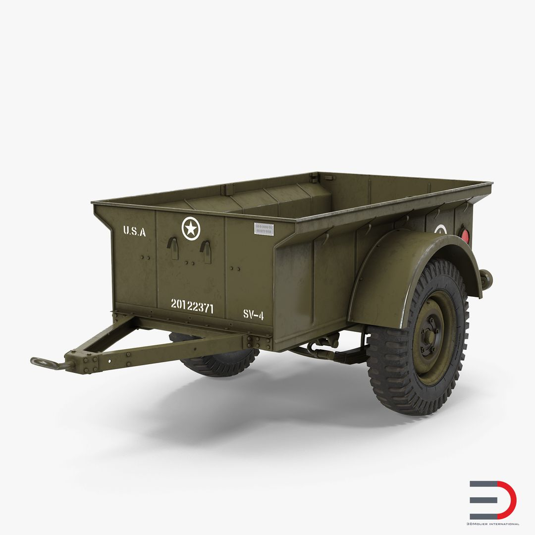 Military Vehicles, Tanks, Weapon Modeling WW2 Military Jeep Trailer jpg