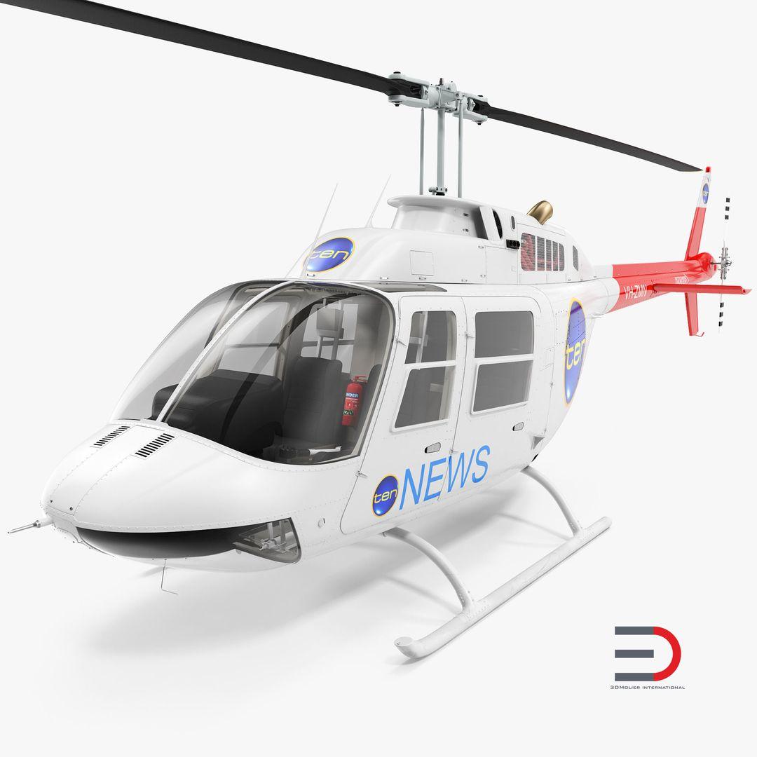 High Quality Realistic Aircraft Modeling Bell 206B JetRanger III Ten News jpg