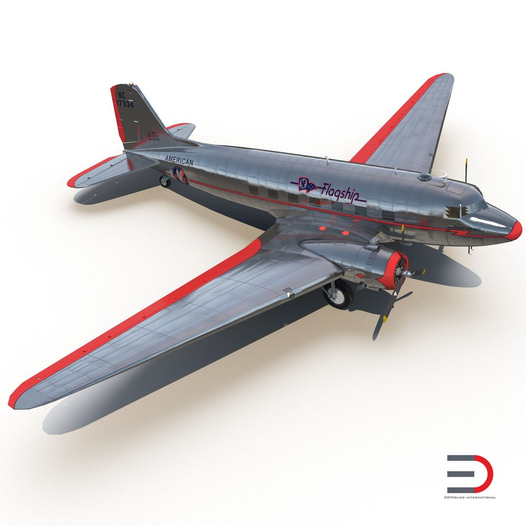 High Quality Realistic Aircraft Modeling DouglasDC3AmericanAirlines3dmodel01 jpg