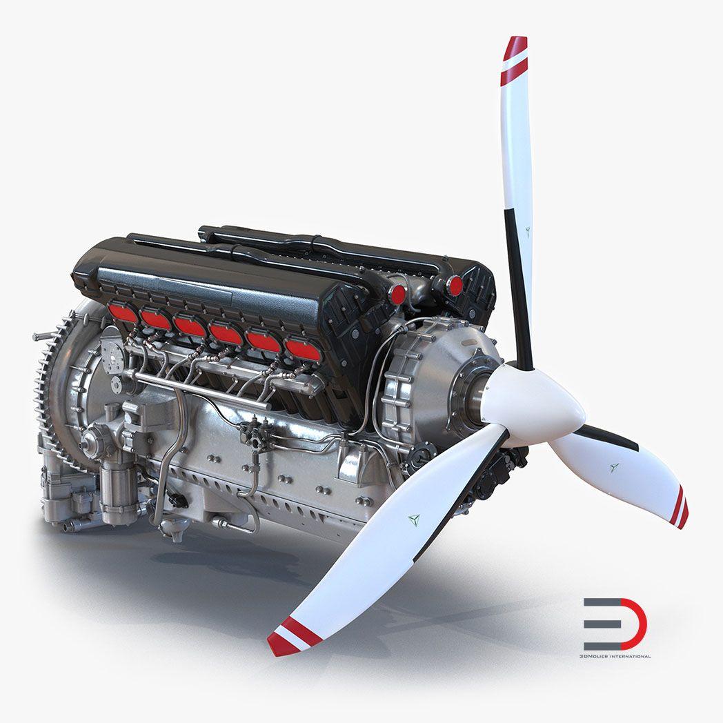 High Quality Realistic Engine Modeling PistonAeroEngine3dmodel00 jpg