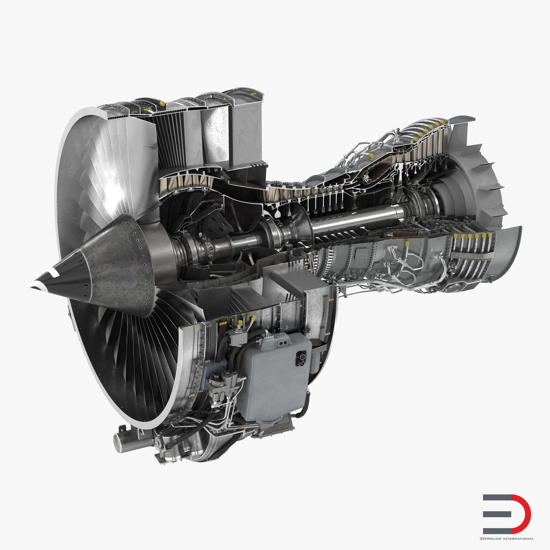 High Quality Realistic Engine Modeling TurbofanAircraftEngineCFMInternationalCFM56Sectioned3dmodel01 jpg