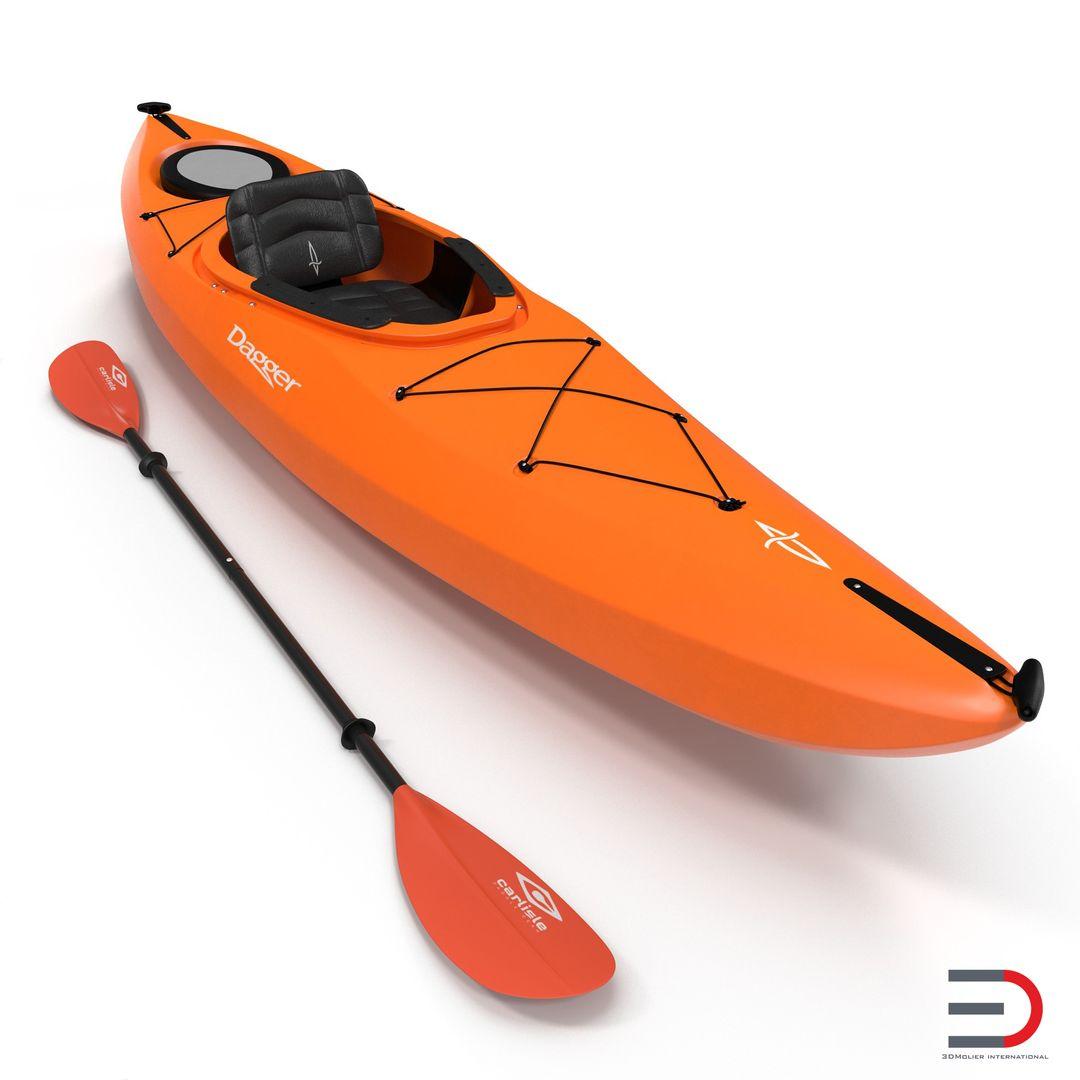 Vessel, Watercraft, Ship Modeling Kayak Orange with Paddle jpg