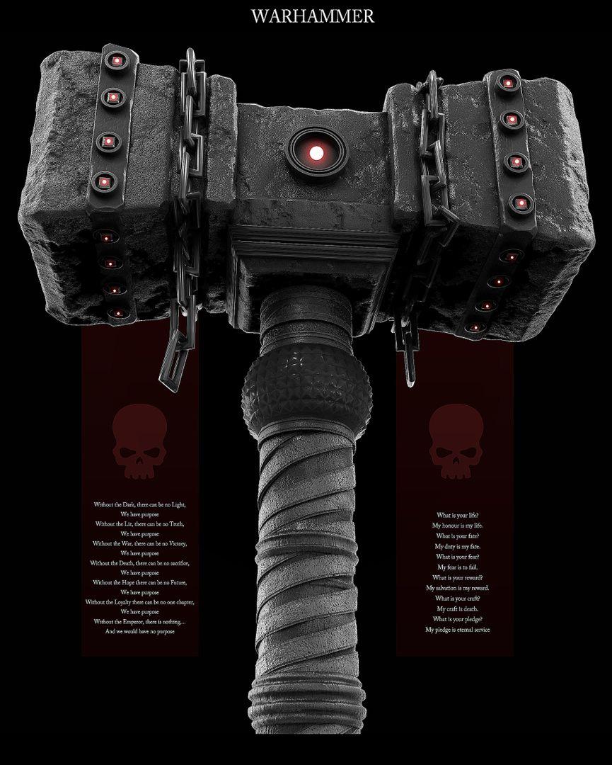 Weapon Design - Game Ready 3D Asset maxime galland maxime galland warhammer02 jpg