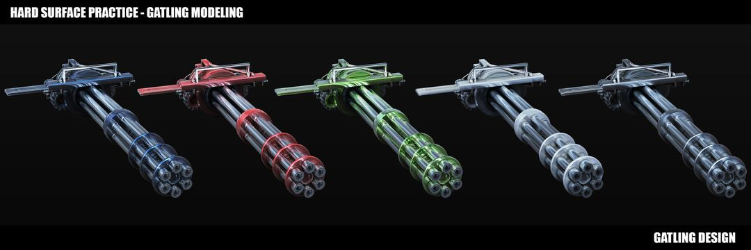3D Weapon Design - Gatling Gun maxime galland maxime galland gatling multiple jpg