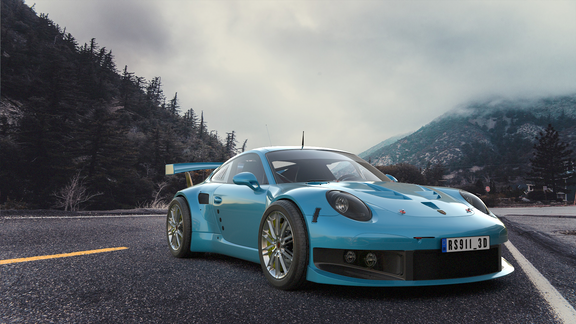 Porsche 911 3d compositing into image
