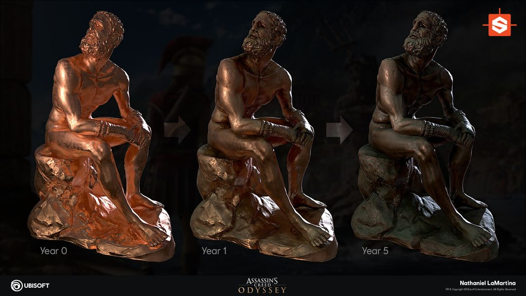 Substance Dynamic Bronze Material Statue 01 jpg