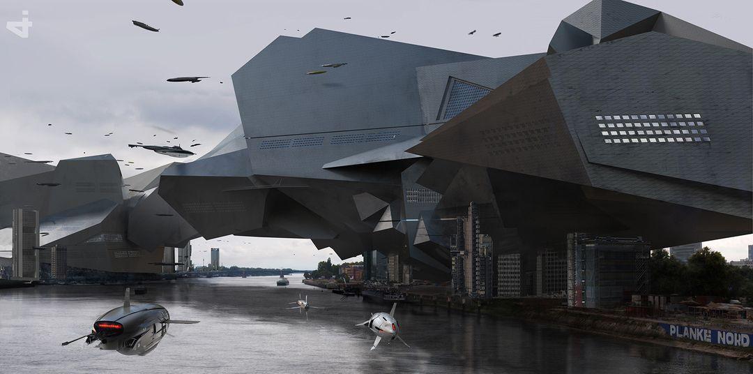 Alien Building Alienbuilding on a river 01 jpg