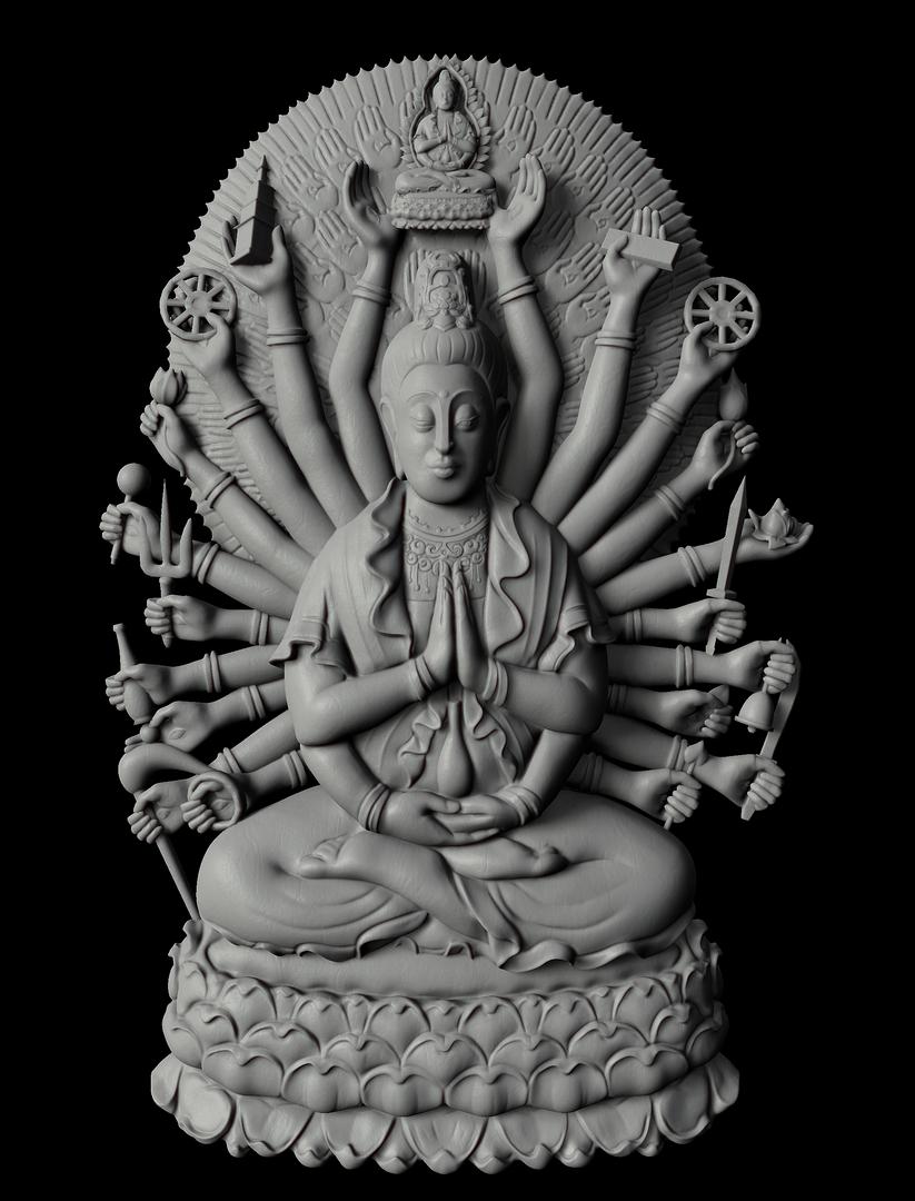 Thousand Arms Buddha Pendant BuddhaBW png