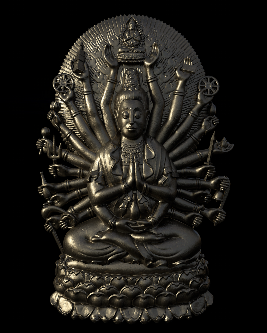 Thousand Arms Buddha Pendant BuddhaGold png