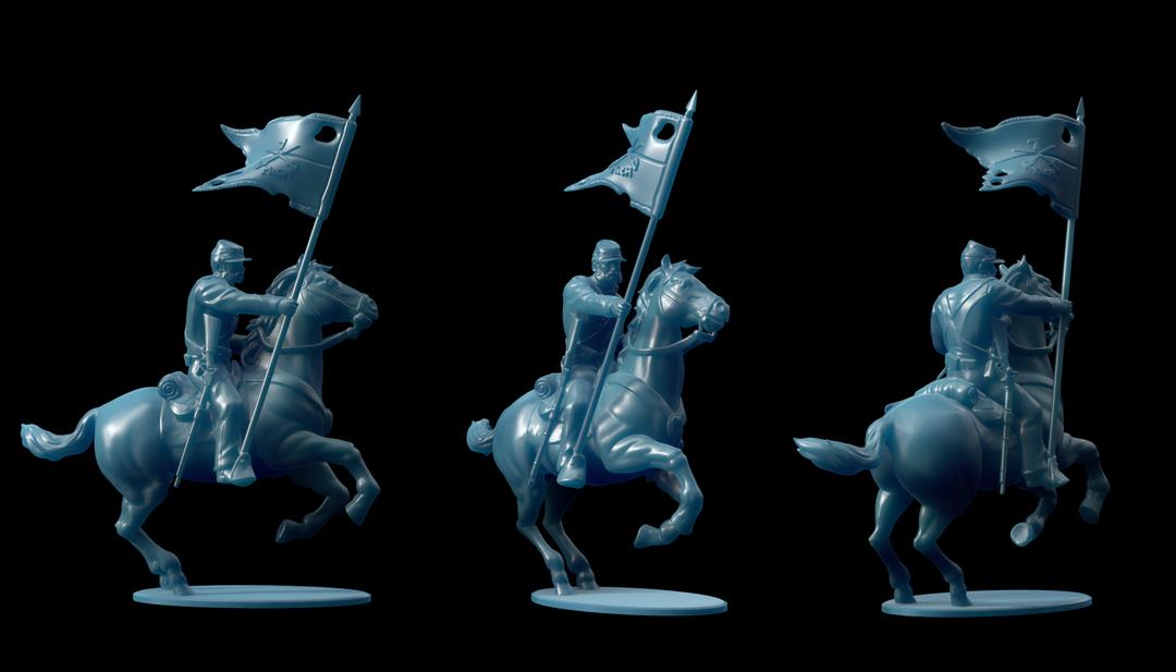 Michigan 7th Cavalry Miniatures FlagBearer png