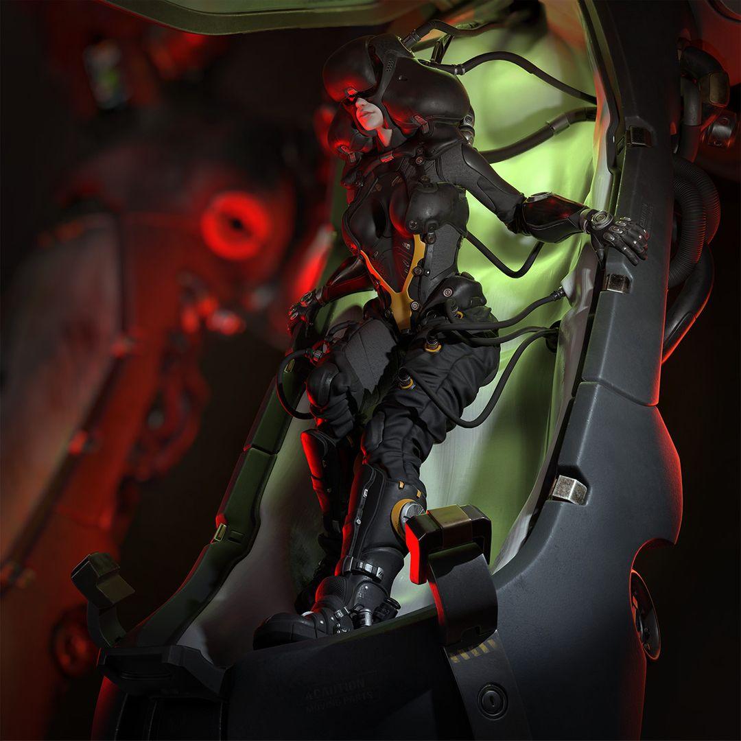 Sci-Fi Cyborg Pilot Cyborg Pilot 01 jpg