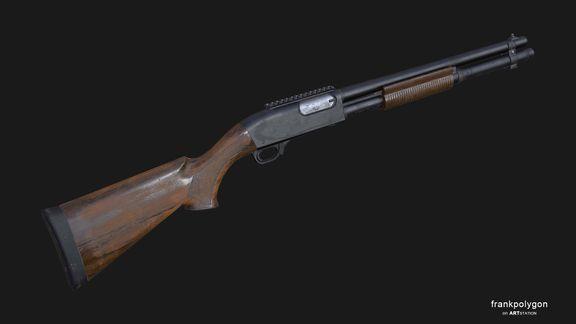 Old Pump Action Shotgun (Low Poly)