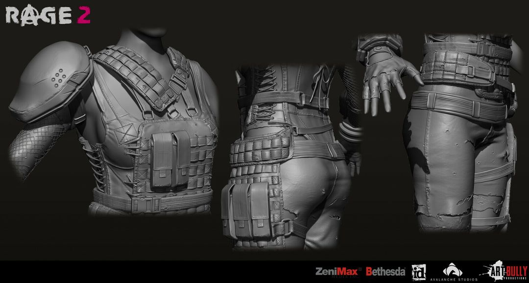 Rage 2 Character Gear tito belgrave art bully productions goon squx outfit shared highpoly turnaround 02 jpg