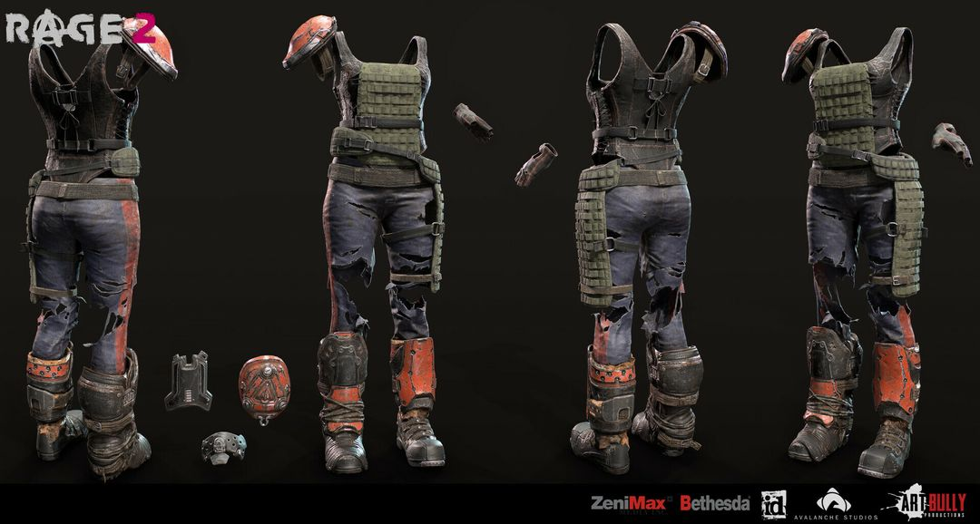 Rage 2 Character Gear tito belgrave art bully productions goon squx outfit shared turnaround 01 jpg