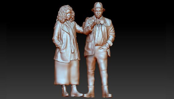 high-poly realistic couple 3D model