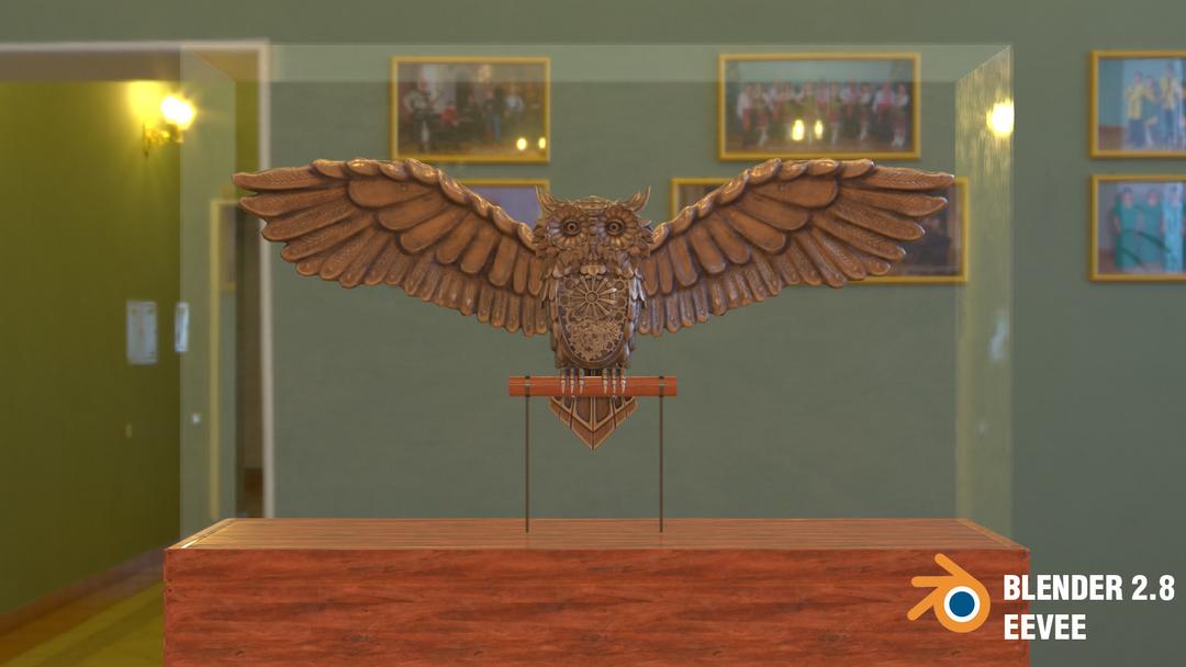 Steampunk Owl tim braslavsky blender 28 screenshots front musichall png