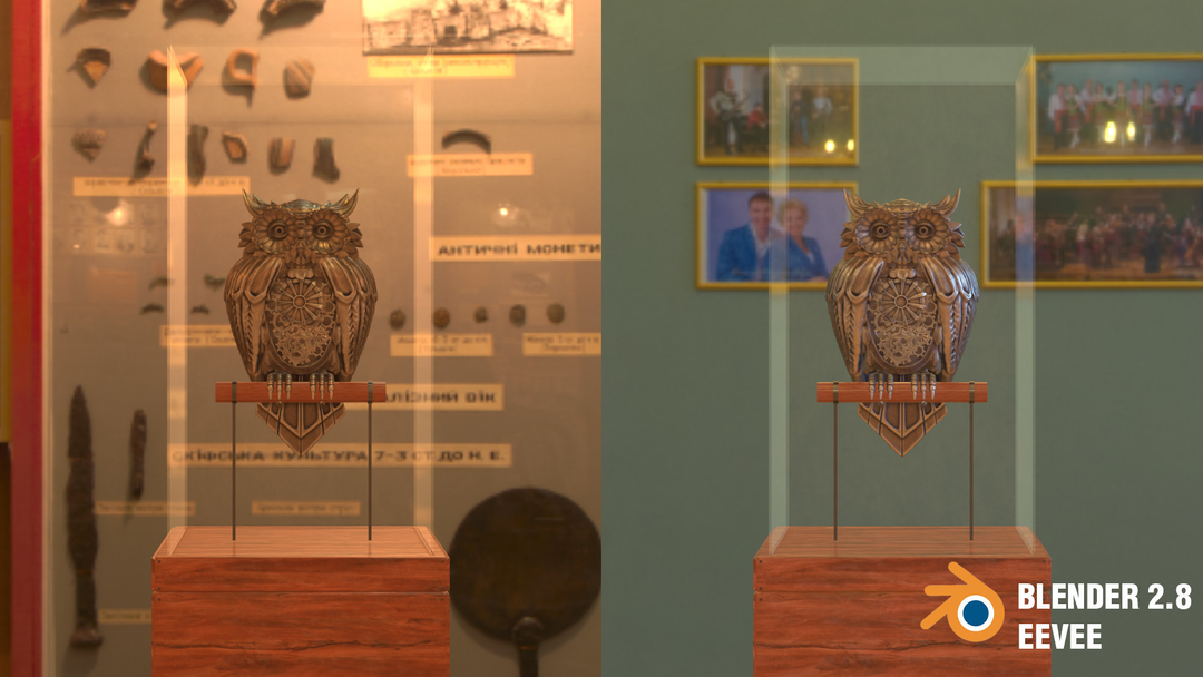 Steampunk Owl tim braslavsky blender 28 screenshots perchedfront png