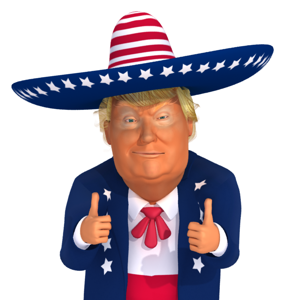 The most popular Trump 3D Character on the web trump mexico DoubleThumbUp png