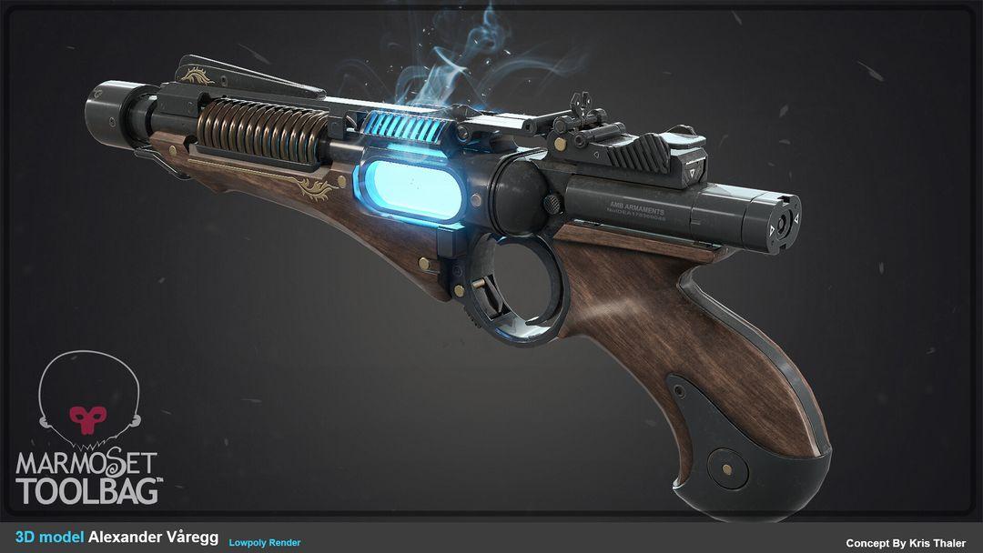 Energy Pistol alexander varegg lowpolyrender01 jpg