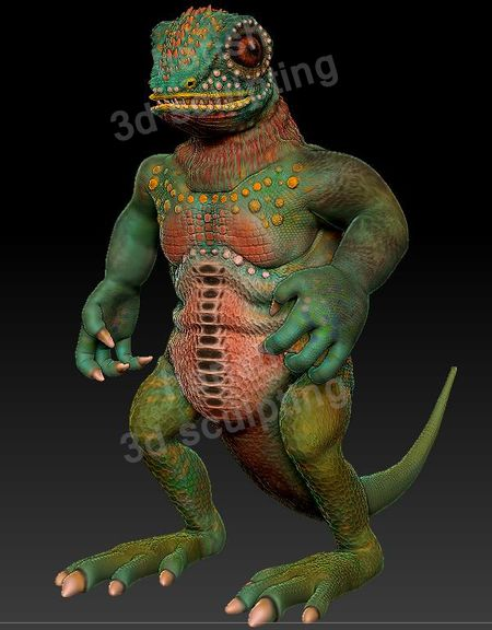 3d sculpting lizard