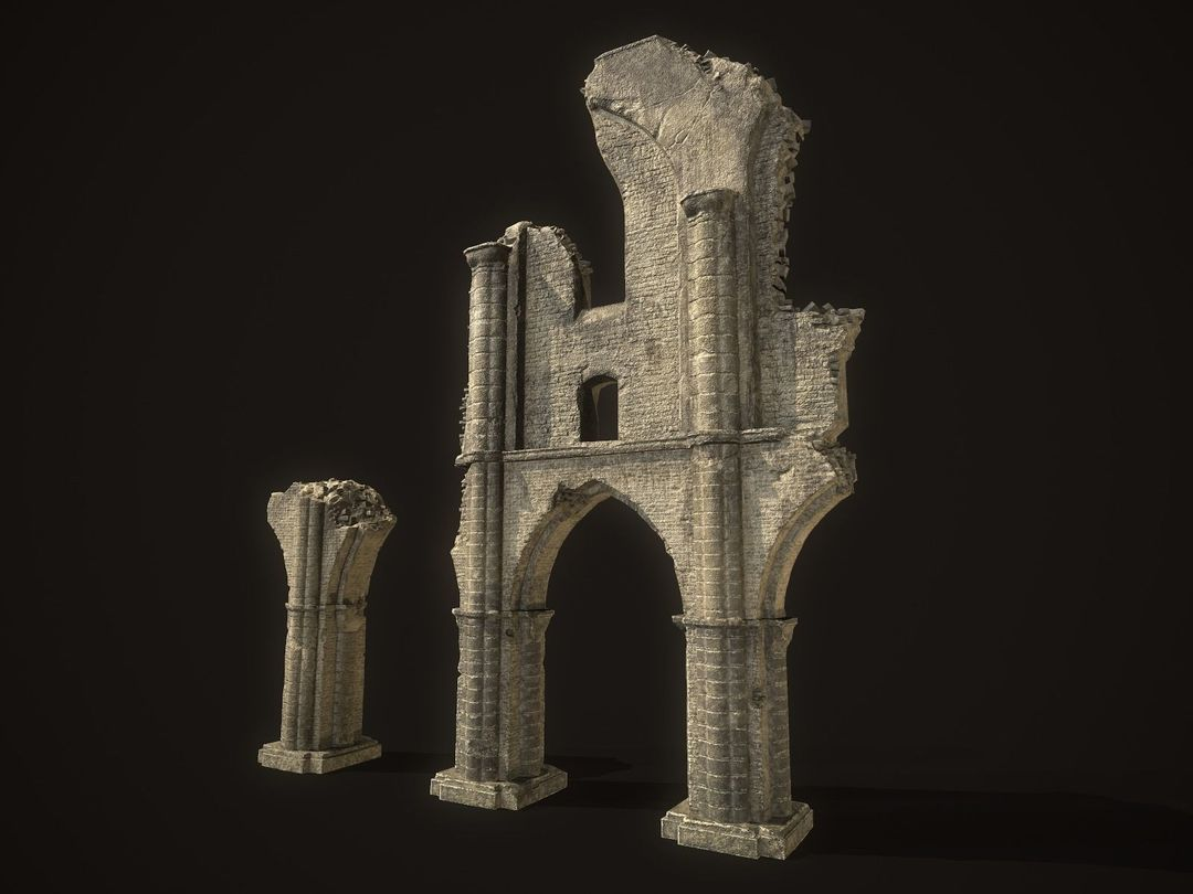 Environment Assets for UE 4 ancient cathedral ruins 3d model low poly max  fbx blend dae unitypackage prefab uasset jpg