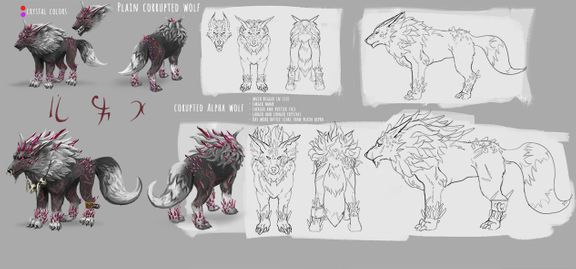 Creature concept design - corrupted wolf