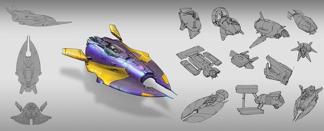Sci fi speeder - hard surface concept design aircraft1 jpg