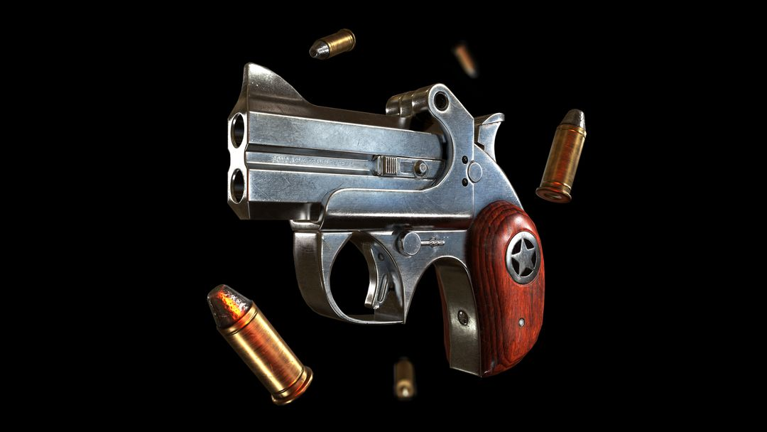 Derringer Pistol - Game Asset 2 Bullets Fly jpg
