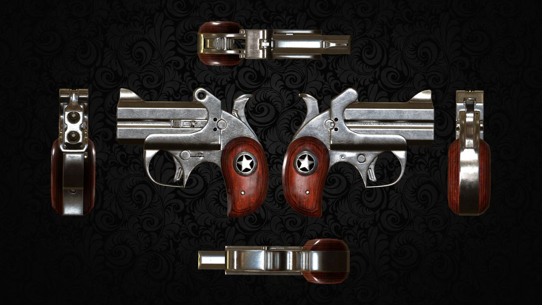 Derringer Pistol - Game Asset 4 Ortho Views jpg