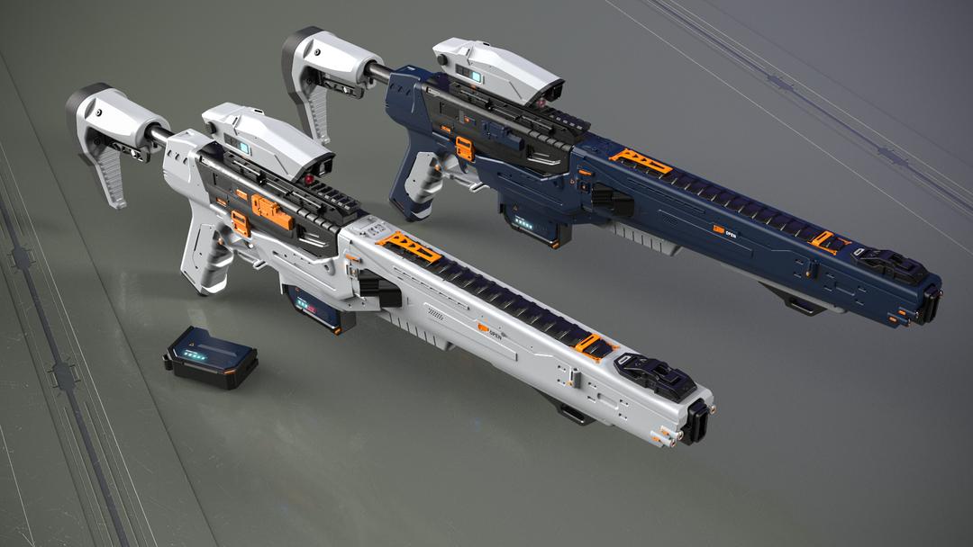 Electromagnetic assault rifle concept EM assault rifle grey and blue main shot png
