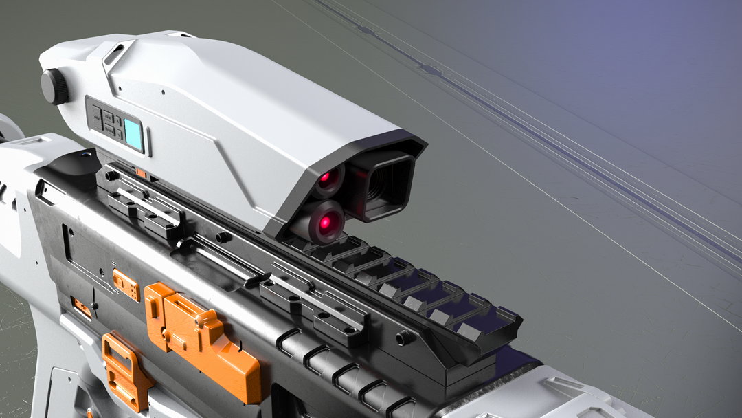 Electromagnetic assault rifle concept EM assault rifle scope closeup png