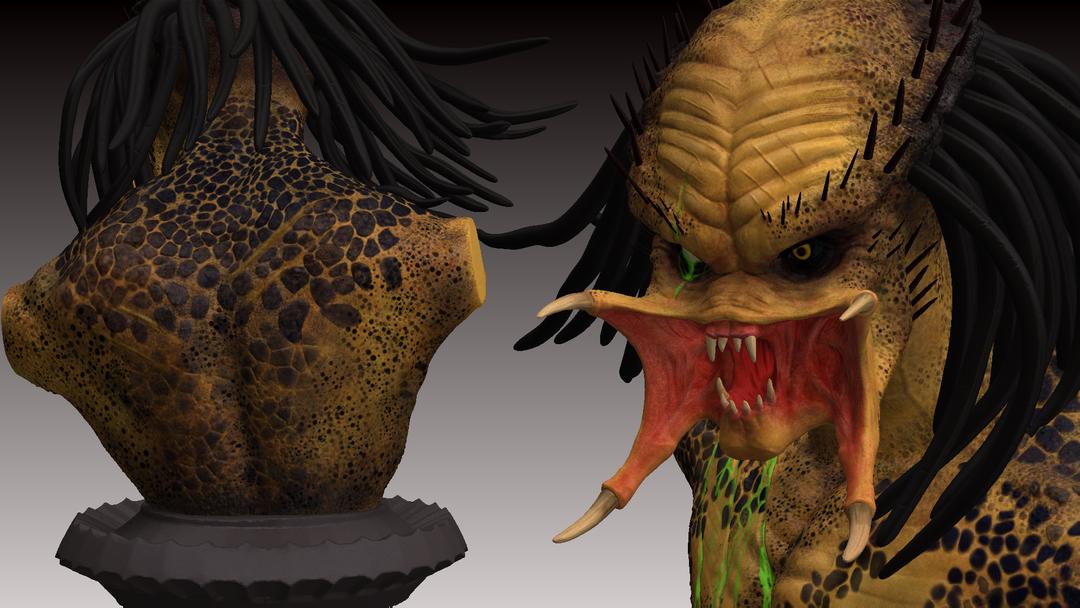 Predator Bust predator zbrush render 1 png