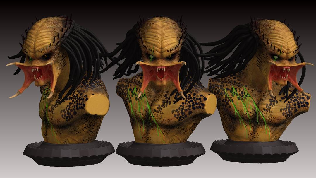Predator Bust predator zbrush render 2 png