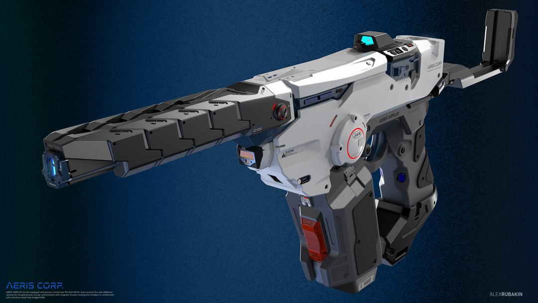 Aeris H3PG-01 Plasma Handgun He3 Plasma Handgun with attachments png