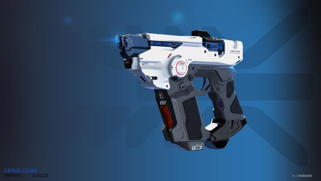 Aeris H3PG-01 Plasma Handgun He3 Plasma Handgun with holodecals promoart png