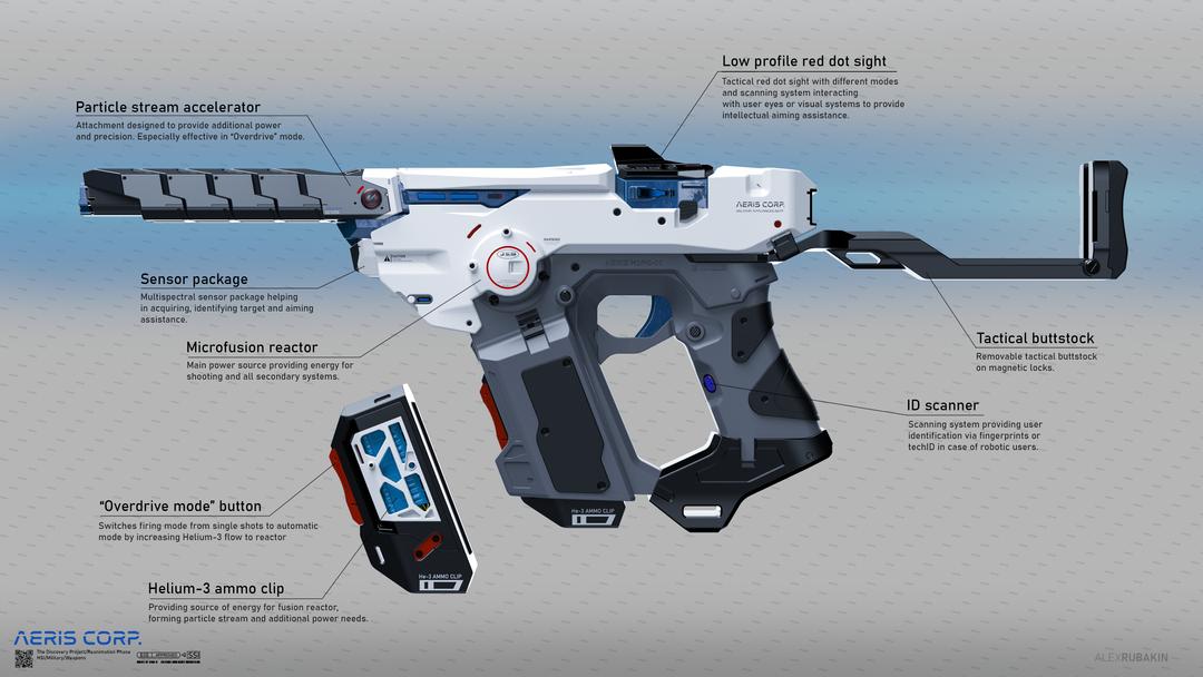 Aeris H3PG-01 Plasma Handgun He3 Plasma Handgun with notes png