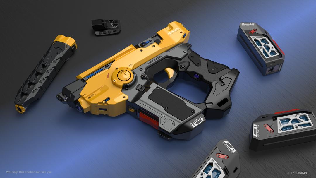 Aeris H3PG-01 Plasma Handgun He3 Plasma Handgun yellow png