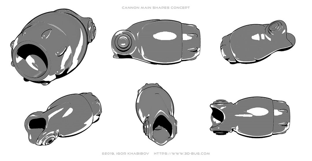 Handheld Cannon Low Poly igor khabibov cannon main shapes concept jpg