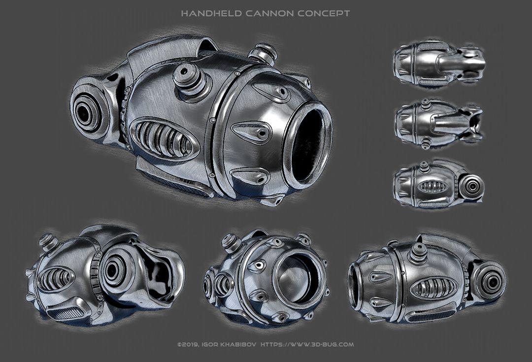 Handheld Cannon Low Poly igor khabibov handheld cannon concept jpg