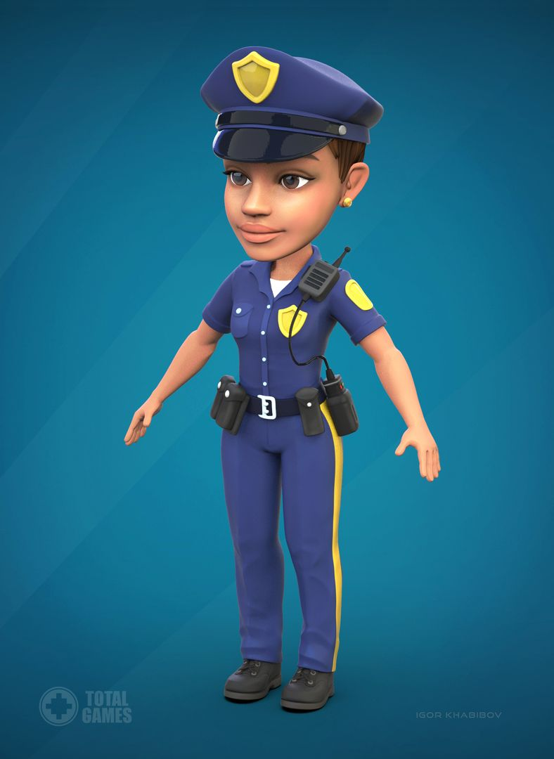 Stylized game character Police 001 jpg