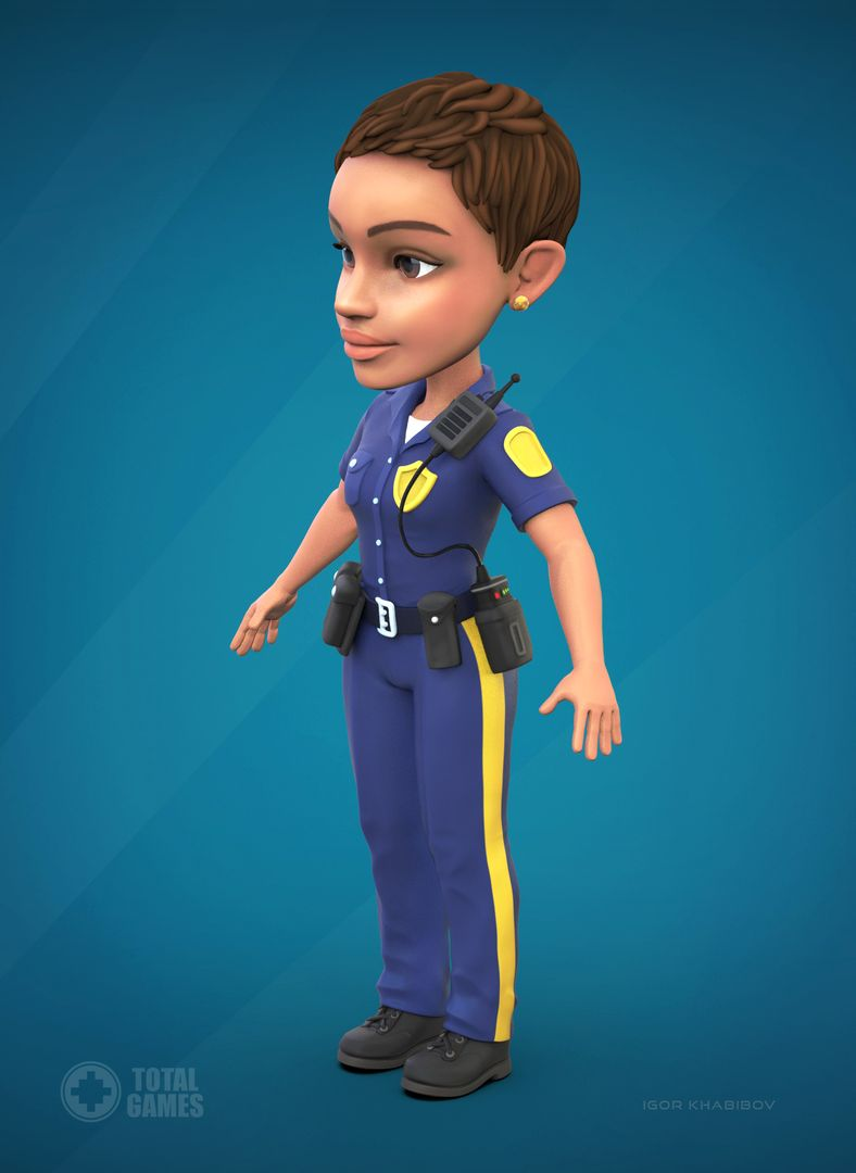 Stylized game character Police 003 jpg