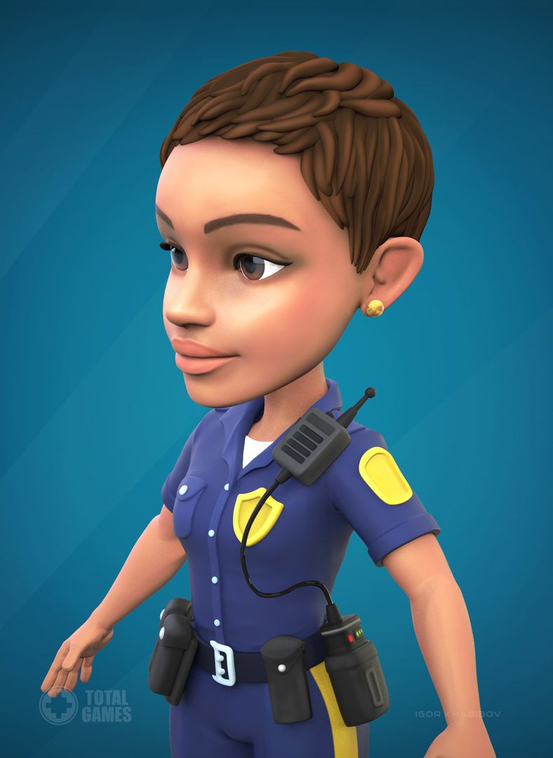 Stylized game character Police 004 jpg