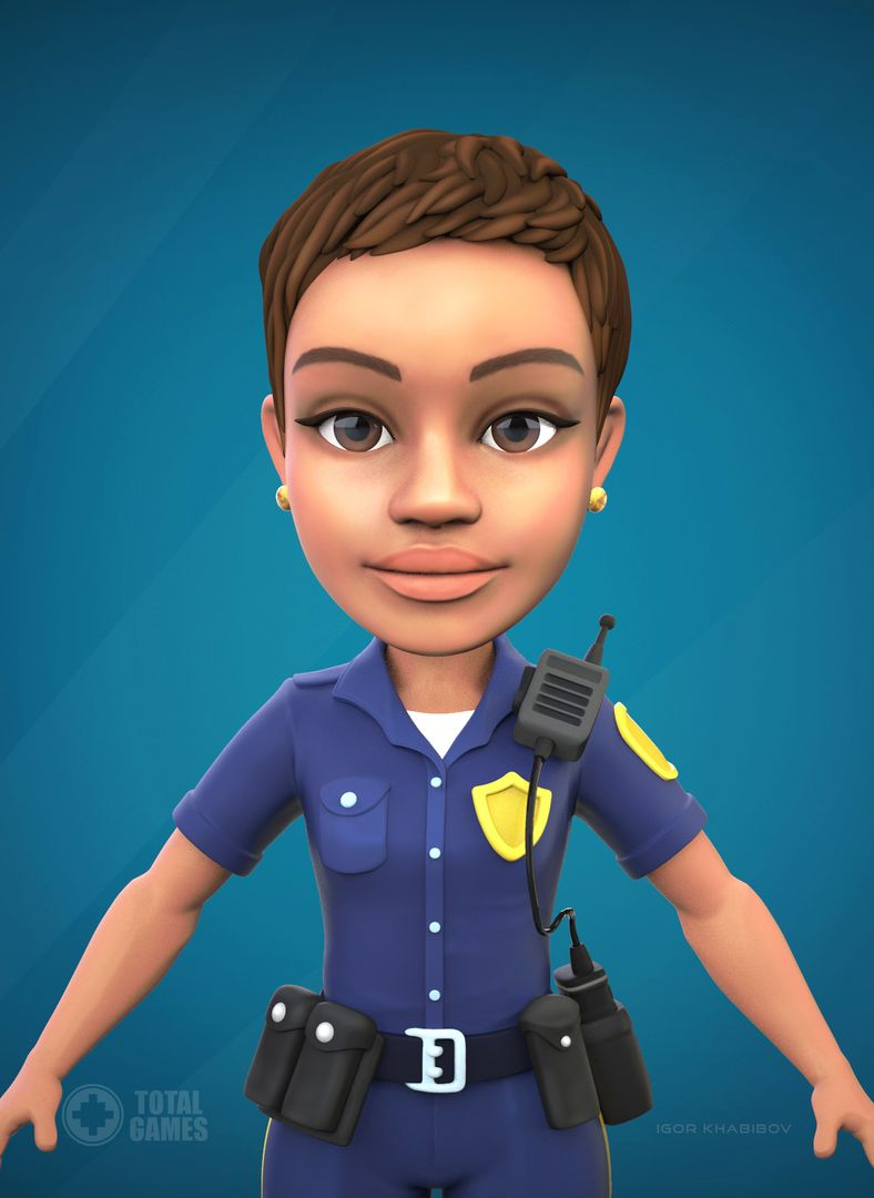 Stylized game character Police 005 jpg