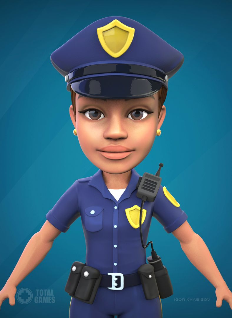 Stylized game character Police 006 jpg